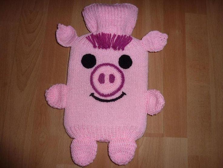 """Wärmflasche mit Bezug """"Schweinchen"""" von CreativBaer auf DaWanda.com"""