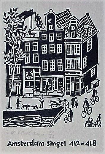 Amsterdam, Singel 412-418 - Linocut