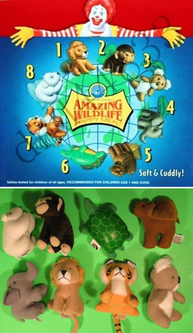 Amazing Wildlife (1995) | The 26 Most Awesome Happy Meal Toys Of The '90s. Can't believe the things I forget... I think I had the tiger, bear and turtle