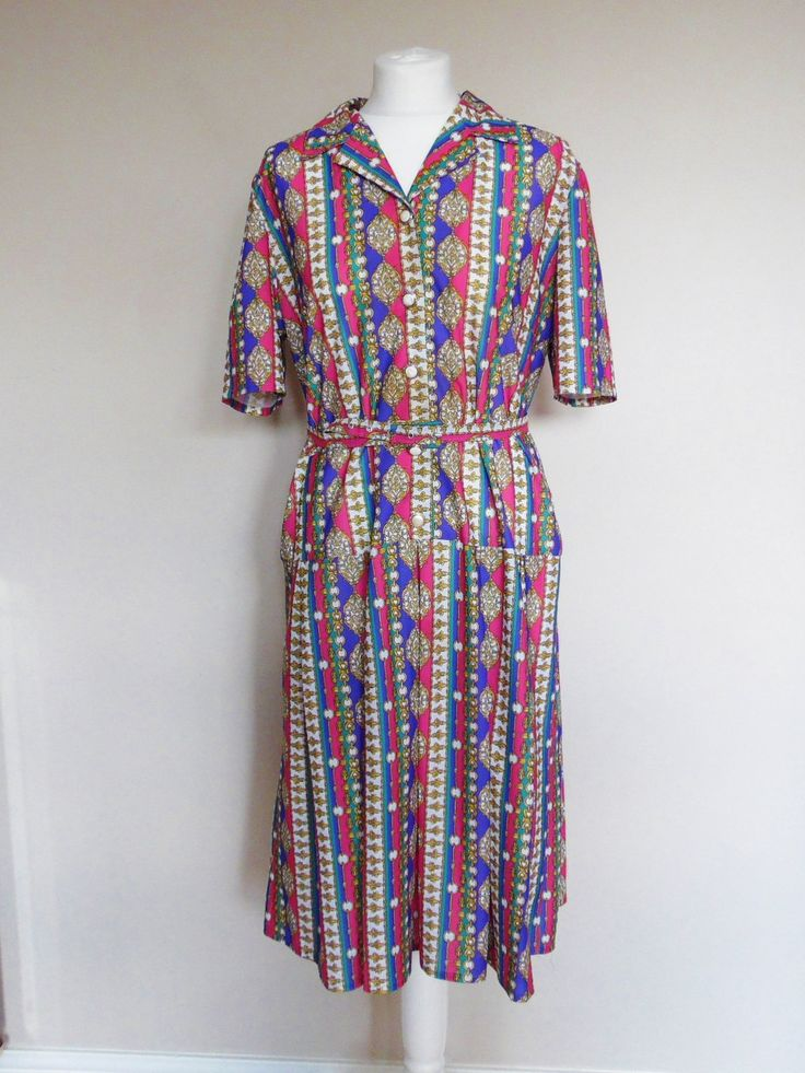 Vintage 80s Deanes Shirt Dress in  Pink, Purple and Green with Italian Gold Chain Style Design, Size 14, Bust 42, by NatashaDeVil on Etsy
