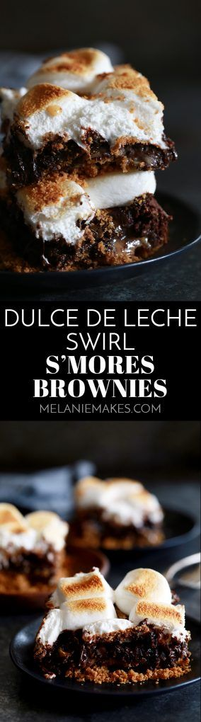 Forget the campfire, these Dulce de Leche Swirl S'mores Brownies are where it's at! A base of graham cracker crumbs topped by a rich, fudgy brownie, dollops of dulce de leche, chocolate chips and puffy, browned marshmallows.