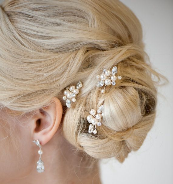 Bridal Hairpins Wedding Hairpins Swarovski by PowderBlueBijoux, $59.00