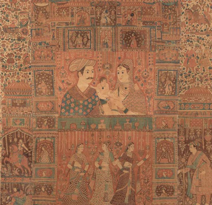 Kalamkari hanging with figures in an architectural setting, ca. 1640–50. India, Deccan. Islamic. The Metropolitan Museum of Art, New York   Feb 2018 jaina mishra View some other exquisite anti…