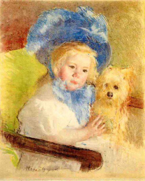 「グリフォン犬を抱いて座る大きな羽根帽子のシモーヌ」1903年頃メアリー・カサット Simone in a Large Plumed Hat, Seated, Holding a Griffon Dog Mary Cassatt- circa 1903