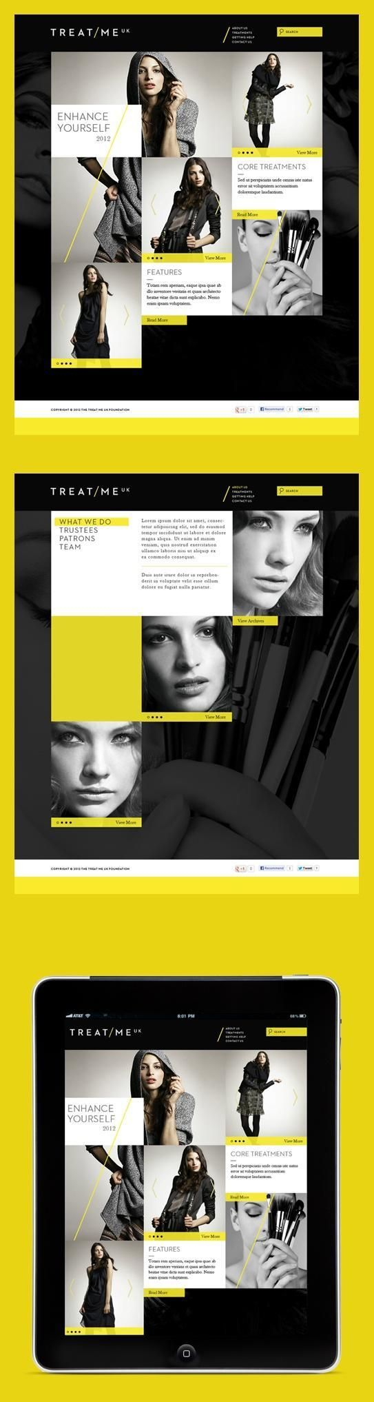 Layout / webdesign / Grid meets YELLOW. — Designspiration