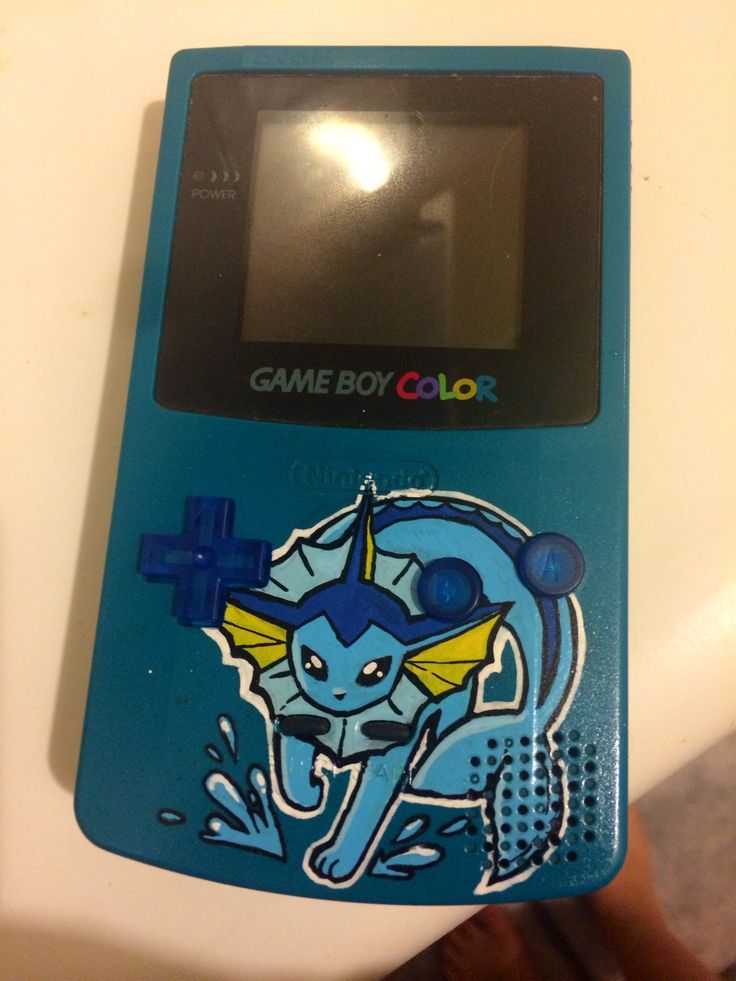 Custom painted Vaporeon Gameboy Color