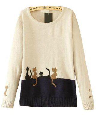 Jersey gatos punto manga larga blanco - Sheinside