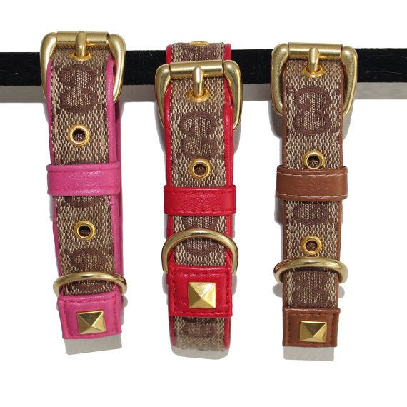 Pink Red Brown Green GG Monogram Designer Luxury Dog Collar  This classic designer dog collar is created from genuine gucci true grade designer