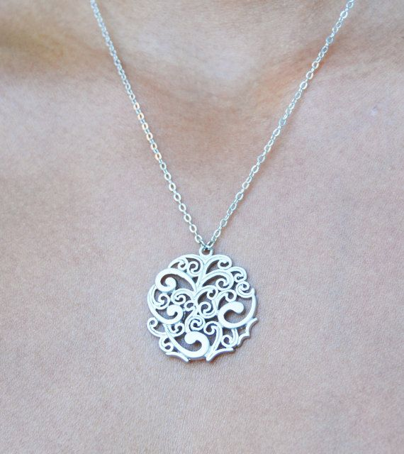 Silver Cirlce Necklace Tribal by MelvinAvenue on Etsy, $23.00