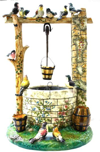 """Majolica International Society image from the Karmason Library. Delphin Massier Wishing Well Planter, with zinc insert.23""""H."""