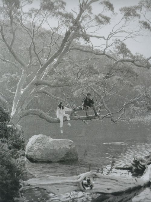"""thateventuality: """" Scan - Olivia and George Harrison, Tasmania, 1982, from George's camera. Scanned from Living in the Material World. """"""""He was shell-shocked from the whole Beatle experience. Literally shell-shocked. He hated loud noises. And imagine..."""