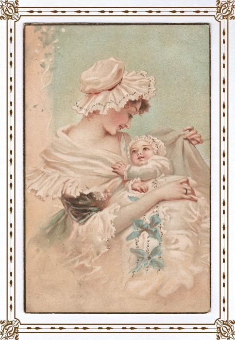 MOMMY AND BABY antique postcard