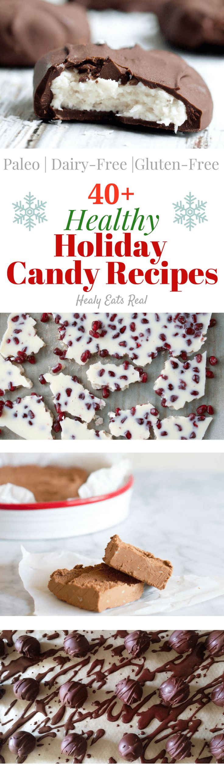 Healthy Holiday Candy Recipes (Paleo, Dairy Free, Gluten Free) -- Lots of delicious christmas treat recipes here...all of them are naturally sweetened!