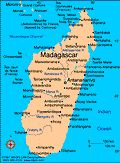 Geography: Madagascar is in the Indian Ocean off of the Southeastern coast of Africa. It is the world's fourth largest island. It used to be a densely wooded area, but now has been cut down due to deforestation.
