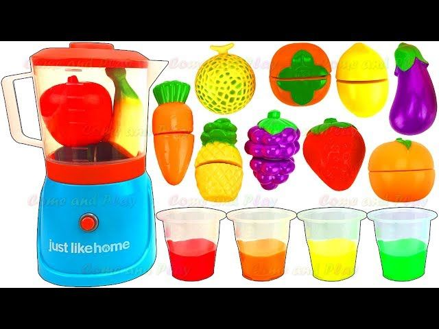 Learn Colors Fruit Blender Toys Slime Smoothie Playset Velcro Surprise Toys Kinder Disney Mickey