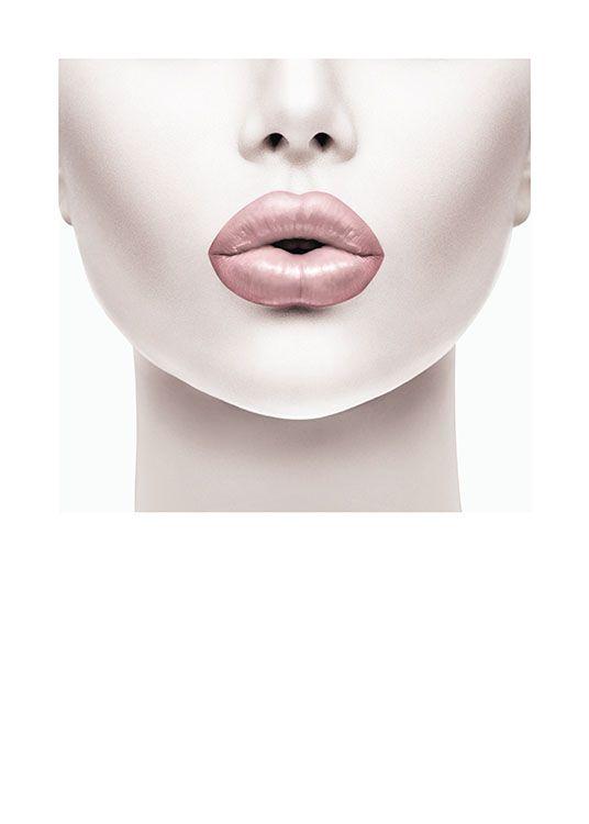Modernt fotografi av kvinna med rosa läppar.