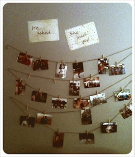 Great engagment party idea. Imagine this on a wall or suspended in a corner with lights above. Could hold pictures of the lovely couple, or note cards for guest to write their good wishes.