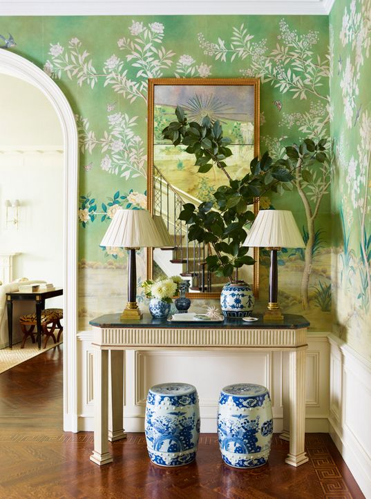 Ashley Whittaker entry design // garden stools, mural wallpaper: Chinoiserie, Decor, Foyers Design, Interiors Design, Wallpapers, Entrance Hall, Gardens Stools, Entry Hall, Ashley Whittaker