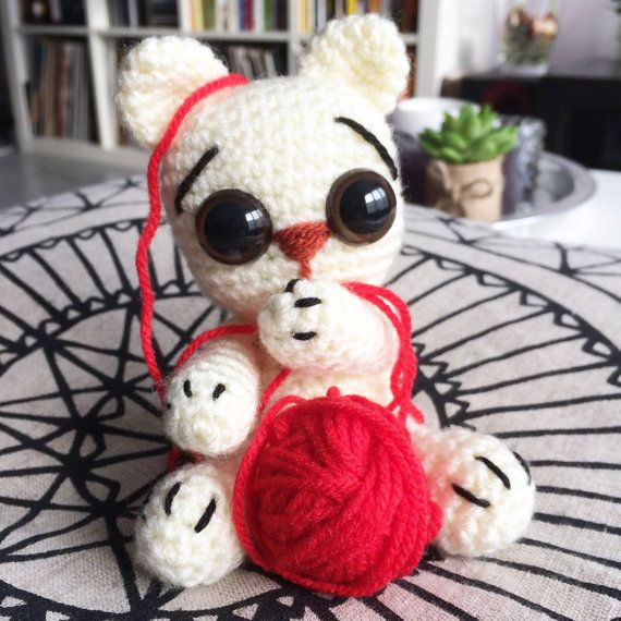 Ready to ship - Cute white kitty with big eyes - stuffed crochet toy for catlovers