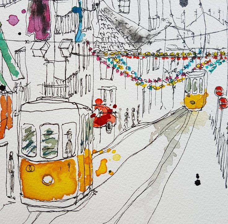"65 mentions J'aime, 6 commentaires - GiZeta (@gizetaworks) sur Instagram : ""That time in Lisbon... #lisbon #lisboa #ig_lisboa #paintingoftheday #drawing #draw #painting…"""