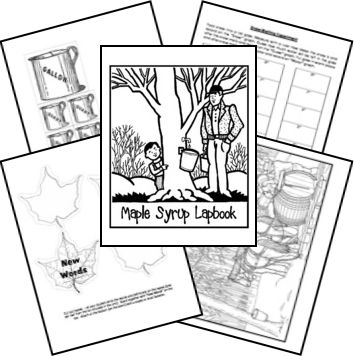 Maple Syrup Lapbook (can be used with a number of children's books about maple syrup)  - Book Lessons and Themes: maple syrup, measurement, maple tree, cooking, snow experiment, temperature, diameter, symmetry, botany, pioneer life, Wisconsin, map skills, metaphor, simile, onomatopoeia