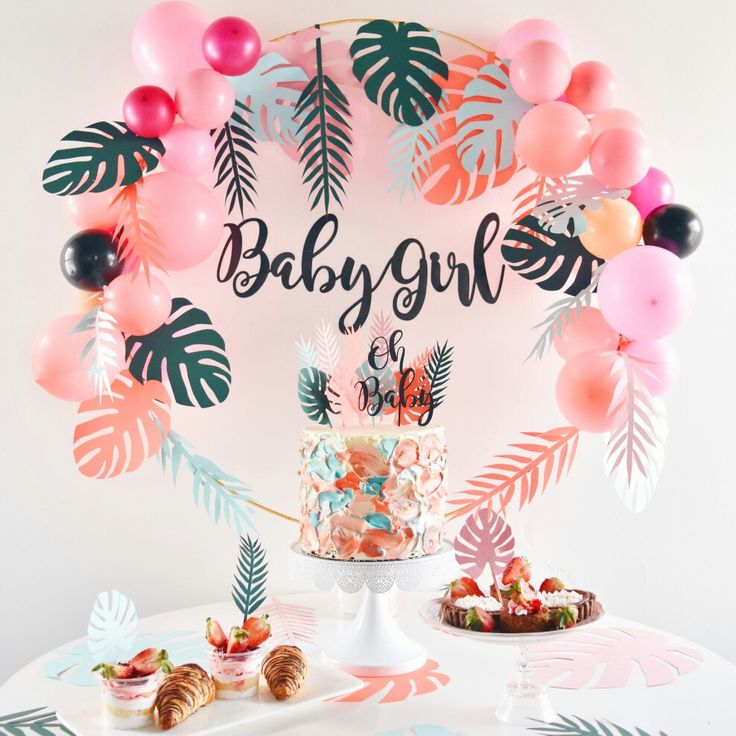Loving this pink coral green Pastel tropical theme babyshower invitation card with a simple dessert table i designed for my friends babyshower. This will be good for a birthday too!  #pastel #babyshower #tropical #invitationcard #cake