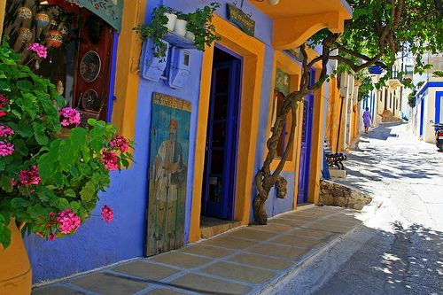 Street, Platanos, Leros island one of the most whimsical gift shops on the whole island <3