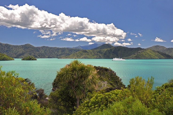 A view of the Marlborough Sounds from Karaka Point with Arahura cruising by.
