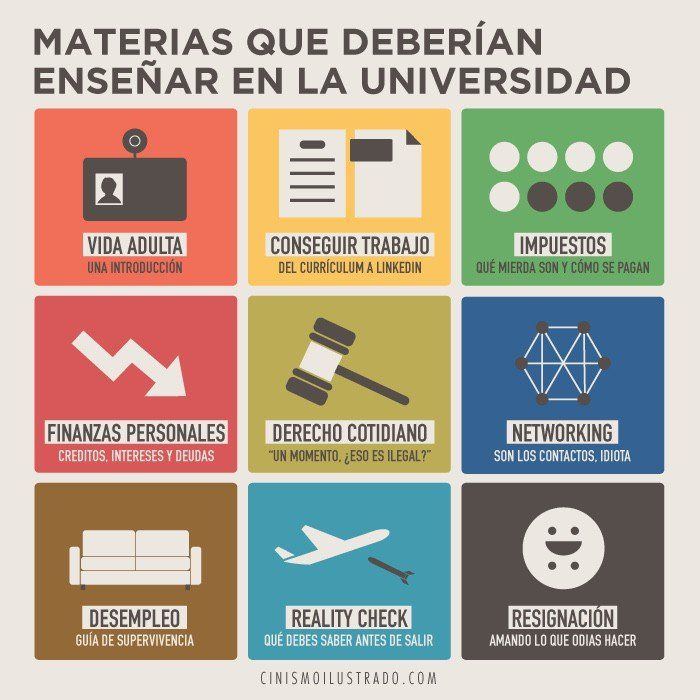 Materias que deberían enseñar en la Universidad. Cinismo Ilustrado