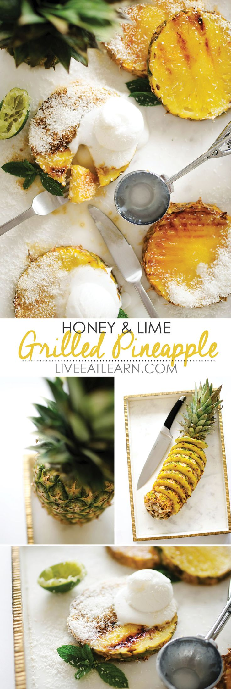 This Honey and Lime Grilled Pineapple recipe is a healthy and quick taste of the tropics. Whip it up for breakfast, snack, or dessert. Top it with coconut ice cream or Greek yogurt. // Live Eat Learn