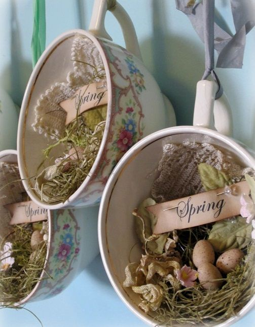 29 Ideas for Rustic Easter Décor- tea cups and such!