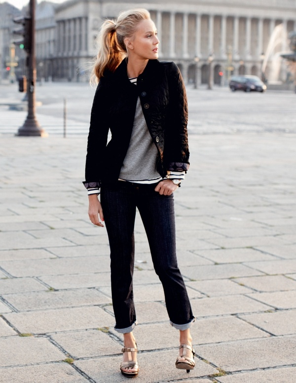 .Fashion, Casual Outfit, Jeans Style, Black Outfit, Cute Outfit, Stripes, Quilt Jackets, Ponies Tail, Hair