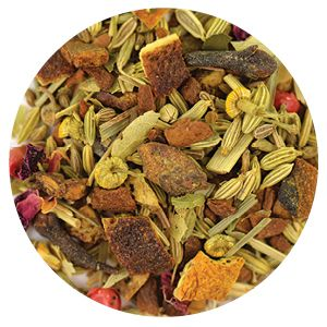Item Code: 8357 Feel Good Fennel , 2.65 oz (75 g)  Ingredients: Fennel, apple bits, cinnamon bits, orange peels, lemongrass, chamomile blossoms, anise, silver lime blossoms, cardamom, rose blossom leaves, cloves, pink peppercorn, vanilla bits, tartaric acid, natural flavors.