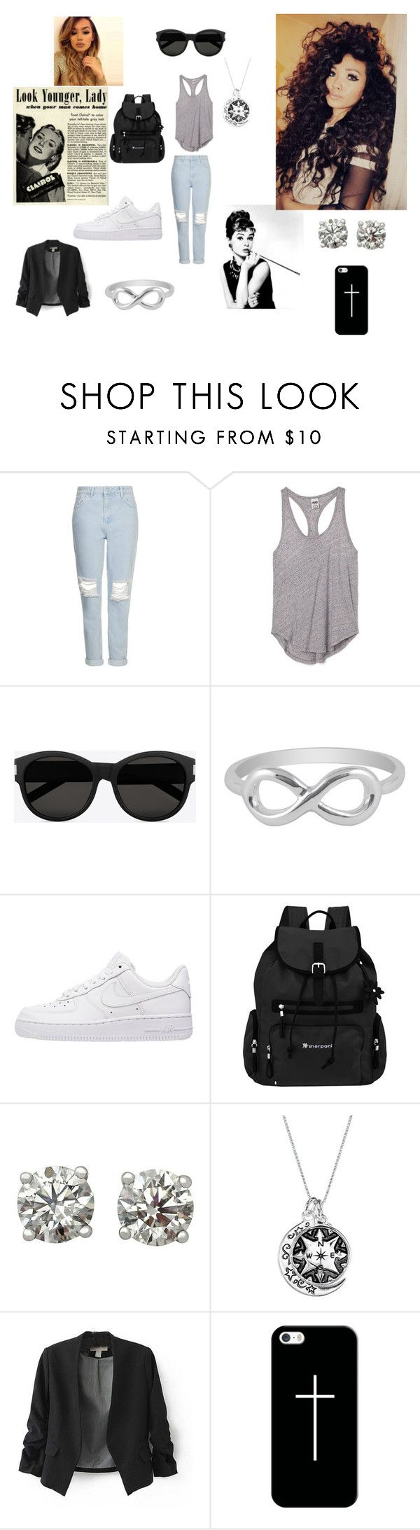 LOOK by olgasanchez09 on Polyvore featuring moda, Victoria's Secret PINK, Topshop, NIKE, Sherpani, Jewel Exclusive, Casetify, Yves Saint Laurent and Luxo