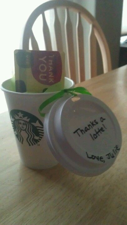 End of the year teacher gift.  This one is very cute!  And who doesn't love Starbucks? A Sidejar could collect enough for lotsa lattes!
