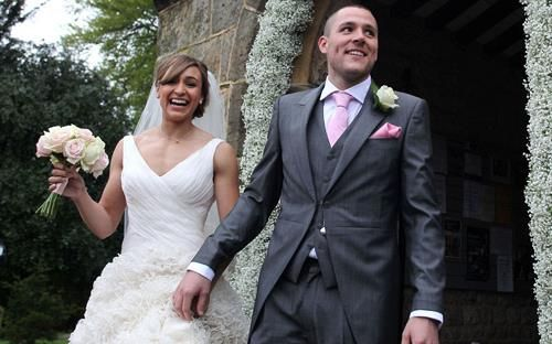 Look at this happy wedding couple, Olympic heptathlon champion Jessica Ennis-Hill married her fiance Andy Hill! the wedding bouquet was a hand-tied compact posy created from Avalanche and Sweet Avalanche roses by Meijer Roses made by Katie Peckett Flowers! (picture from the blog of Flowerona - Rona Wheeldon's Flower Blog http://ht.ly/n1Lso)