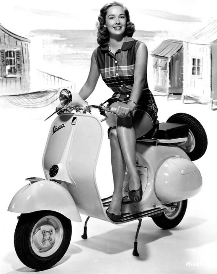 """Vera Miles posing on a Vespa """"Vera Miles: American actress appearing in two Hitchcock films – The Wrong Man (1956) and Psycho… """" View Post"""