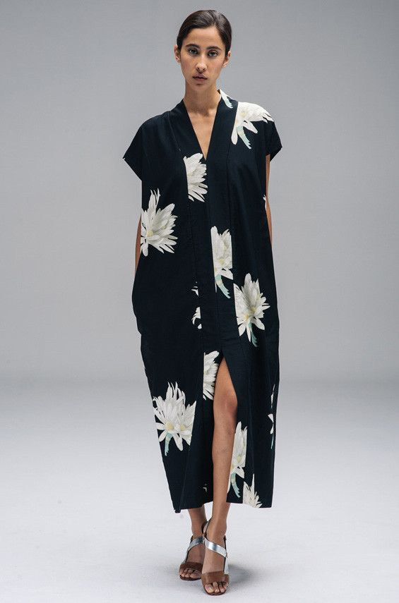 northmagneticpole:  Long Smoking Dress on Hawaiin Print-Horses Atelier