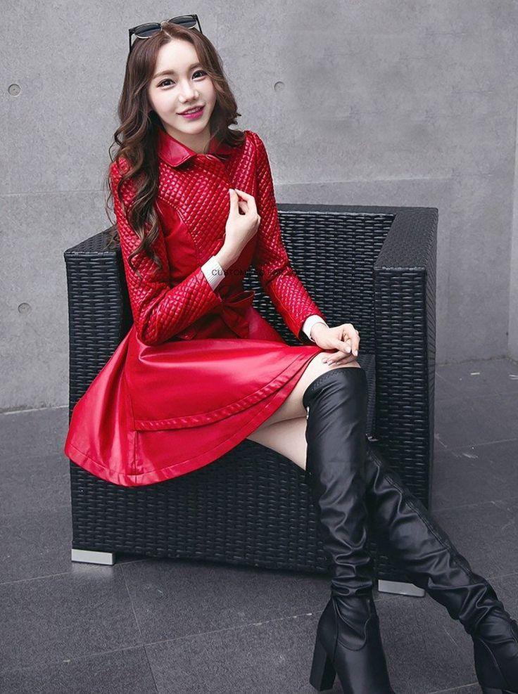Women's Coat Skirt PU Leather Long Section Slim Korean