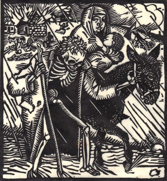 The Death-Dance Anno (Vom Totentanz Anno) by Otto Wirsching (Germany, 1915): Illustration, Tile Tile