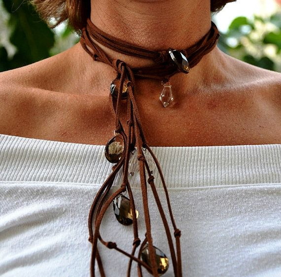 Boho Necklace Leather Cowgirl accessory Country by JewelMeShop