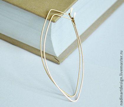 Золотые серёжки `Осень`. Романтичные серьги в форме листиков.