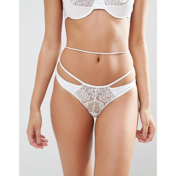 ASOS BRIDAL Katie-May Thong ($17) ❤ liked on Polyvore featuring intimates, panties, white, lacy thong, bride thong, high rise thong, bridal thong and high waisted thong