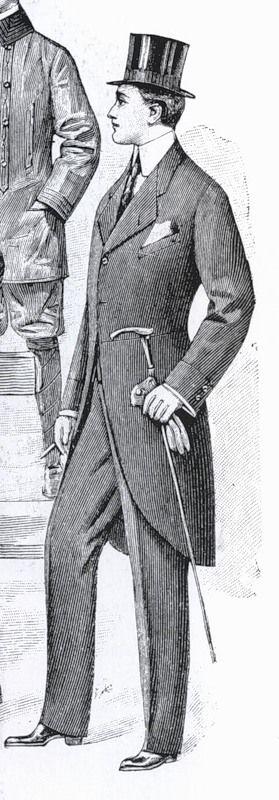визитка 1901 год мужская мода Англия