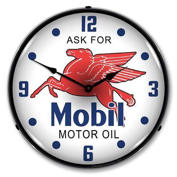Antique Style Mobil Oil Backlit Clock 129 99 Wall Clock Light Vintage Clock Wall Clock