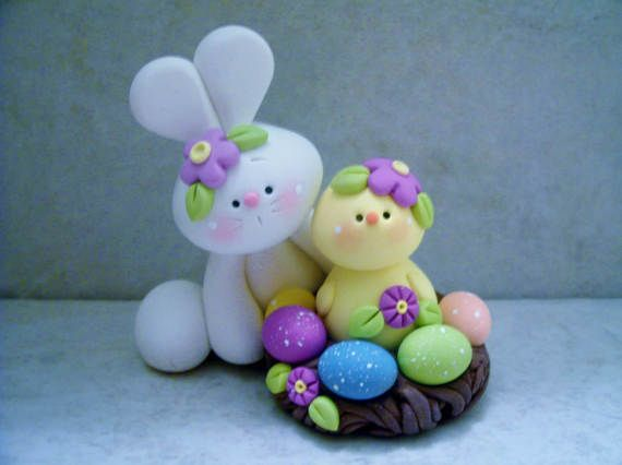 Bunny and Chick  Easter Eggs  Polymer Clay  by countrycupboardclay