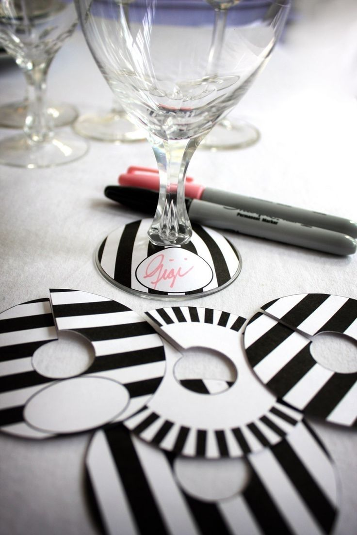 Printable Paper Black and White Stripe Collection Wine Glass Slipper Name Card Tag. $3.00, via Etsy.