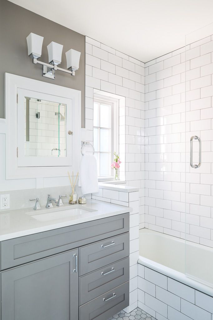 Gray with white subway tiles in updated 1930s bathroom | Blue Ridge Boeing Castle Taken to New Heights by Model Remodel, Seattle, WA