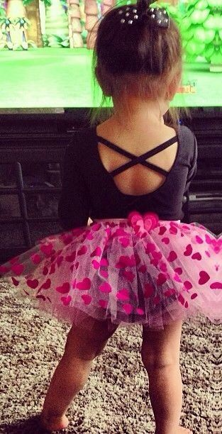 Little girl in her pink heart tutu!!