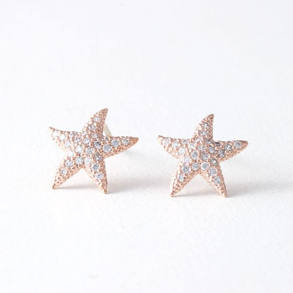 Swarovski Rose Gold Starfish Earrings Studs from kellinsilver.com